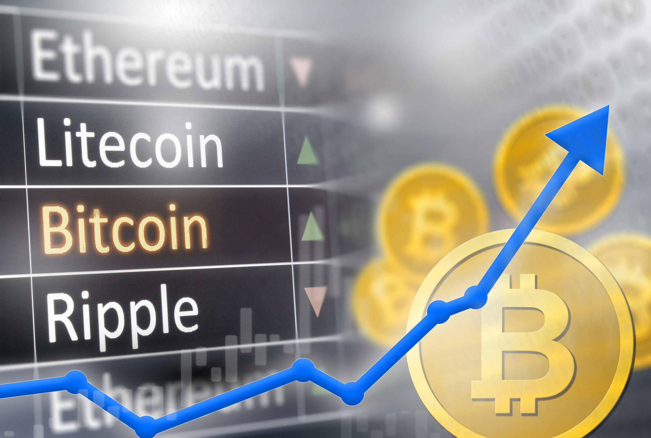 Bitcoin price increase.  Financial gain and market upswing for crypto values.